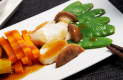 Stir fried mixed vegetable with Cha Siu sauce